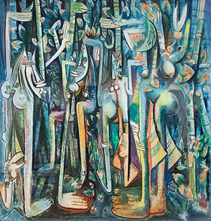 Wifredo Lam's The Jungle, gouache on paper mounted on canvas, 1943. Photograph by Kent Baldner. Courtesy of Kent Baldner.