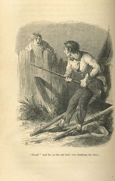 """""""Stand,"""" said he, as the old lady was climbing the fence, ca. 1845. Illustration by Felix Darley. Originally published in Johnson J. Hooper's Some Adventures of Captain Simon Suggs (Carey and Hart, 1845). © This work is the property of the University of North Carolina at Chapel Hill. Courtesy of Documenting the American South, docsouth.unc.edu/southlit/hooper/hoope92.jpg."""
