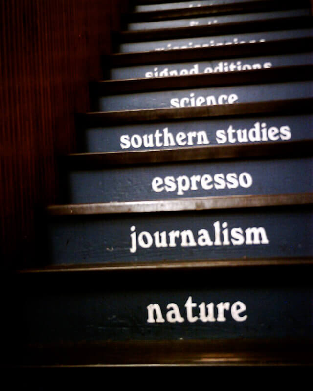 Staircase at Square Books, Oxford, Missippi, July 5, 2006. Photograph by Flickr user Lord_of_the_Flies. Creative Commons license CC BY-NC-SA 2.0.