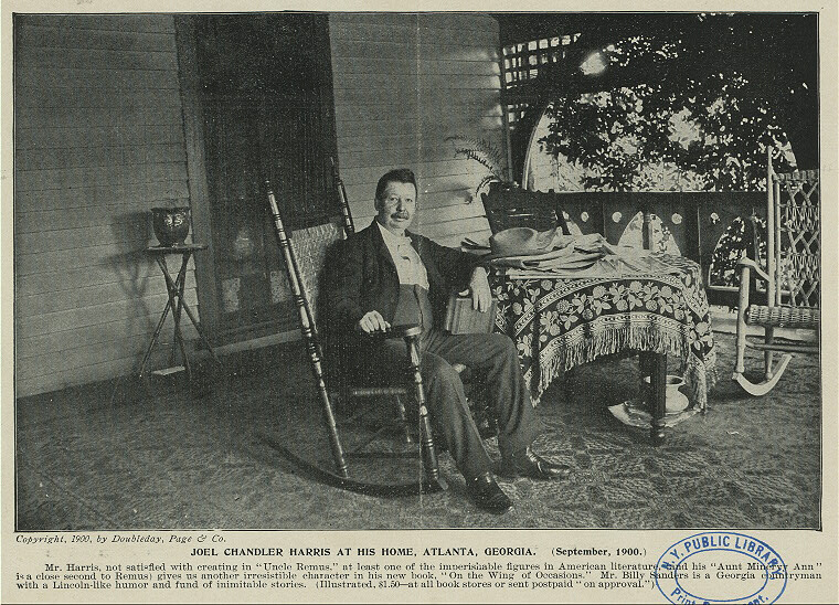 Joel Chandler Harris at his home, Atlanta, Georgia, September 1900. Newspaper clipping. Courtesy of the New York Public Library Miriam and Ira D. Wallach Division, digitalcollections.nypl.org/items/510d47df-dc1b-a3d9-e040-e00a18064a99.