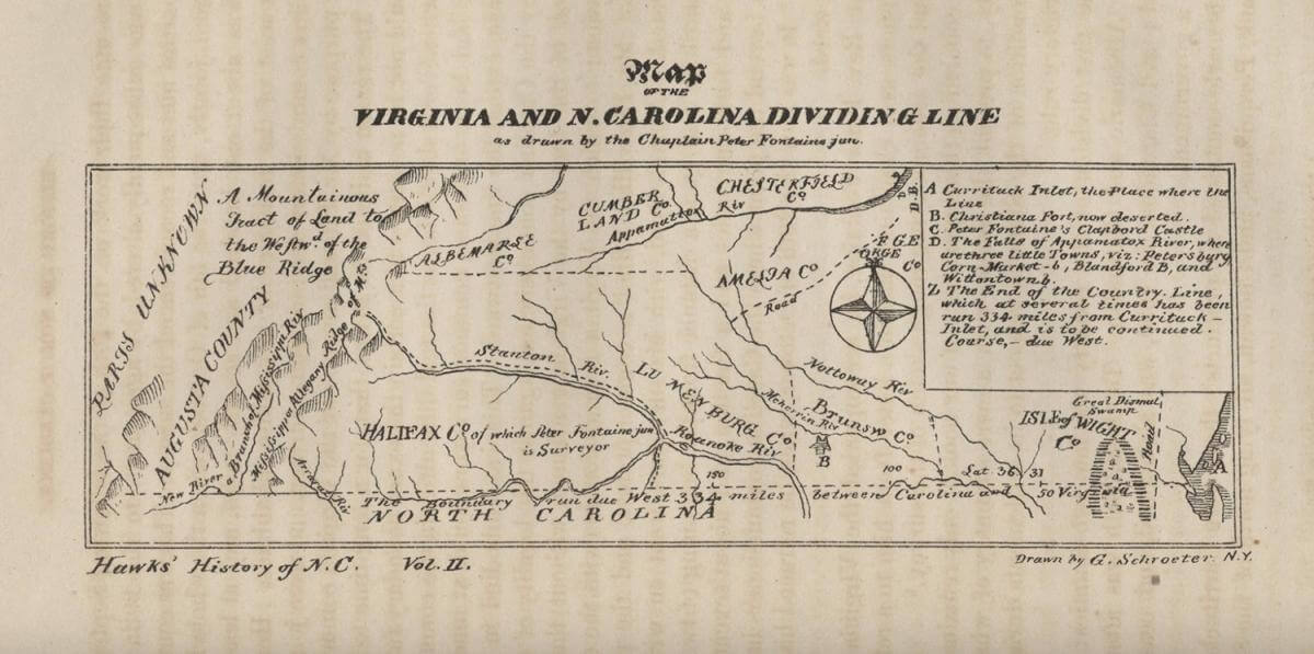 Map of the Virginia and N. Carolina Dividing Line, Fayetteville, North Carolina, 1859. Map by Peter Fontaine Jr. Published by E. J. Hale & Son. Courtesy of the North Carolina Maps website, Carolina Digital Library and Archives, University of North Carolina at Chapel Hill.