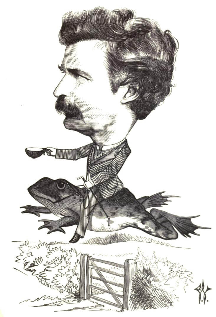 Mark Twain: American Humour, ca. 1873. Illustration by Frederick Waddy. Originally published in Cartoon Portraits and Biographical Sketches of Men of the Day (Tinsley Brothers, 1873). Courtesy of Wikimedia Commons. Image is in public domain.