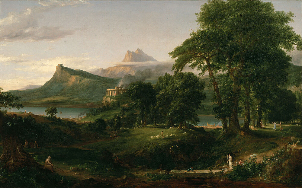 The Arcadian or Pastoral State, 1834. Oil painting by Thomas Cole. Courtesy of Wikimedia Commons. Image is in public domain.
