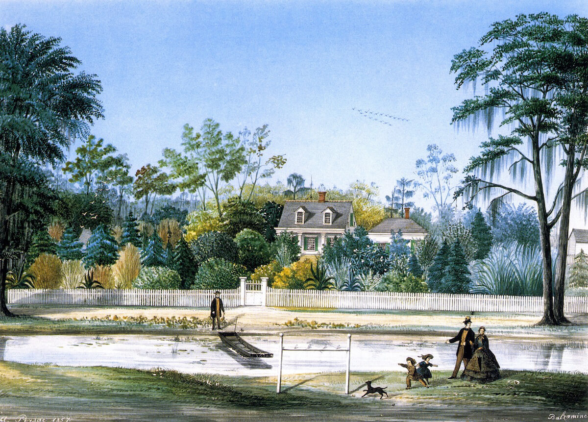 Balzamine Plantation, 1857. Gouache painting by Marie Adrien Persac. Courtesy of Wikimedia Commons. Image is in public domain.