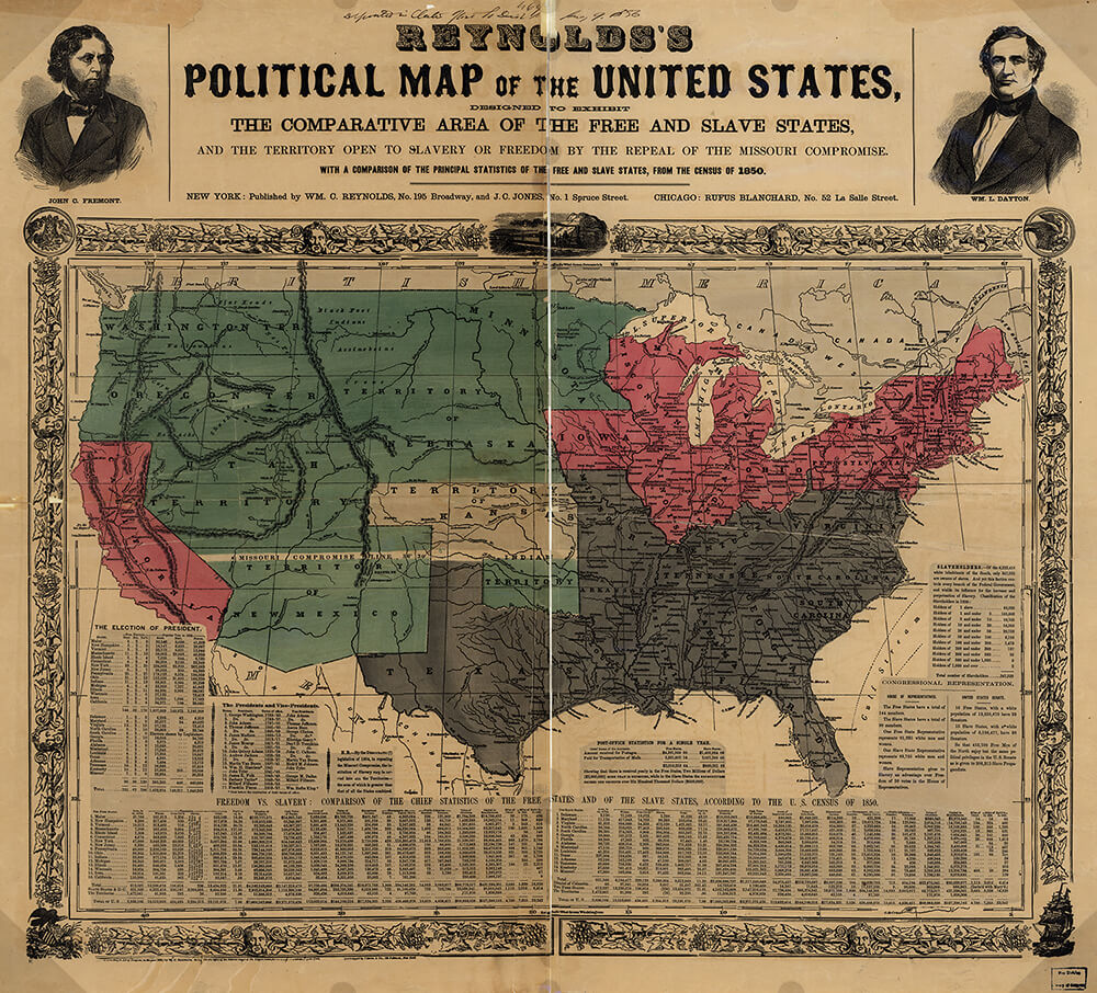 Reynold's political map of the United States, ca. 1856. Map created by William C. Reynolds and J.C. Jones. Courtesy of the Library of Congress Geography and Map Division, www.loc.gov/resource/g3701e.ct000604/.