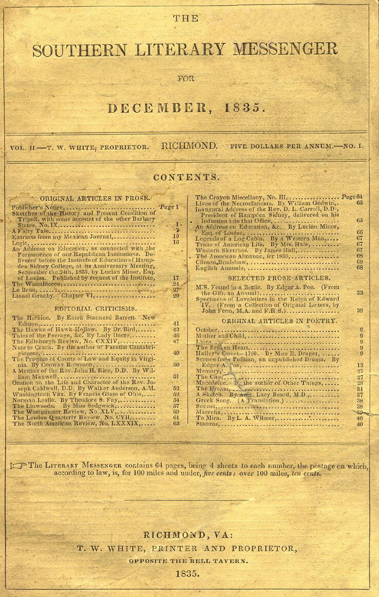 Table of contents to the Southern Literary Messenger, December, 1835. Courtesy of Wikimedia Commons.
