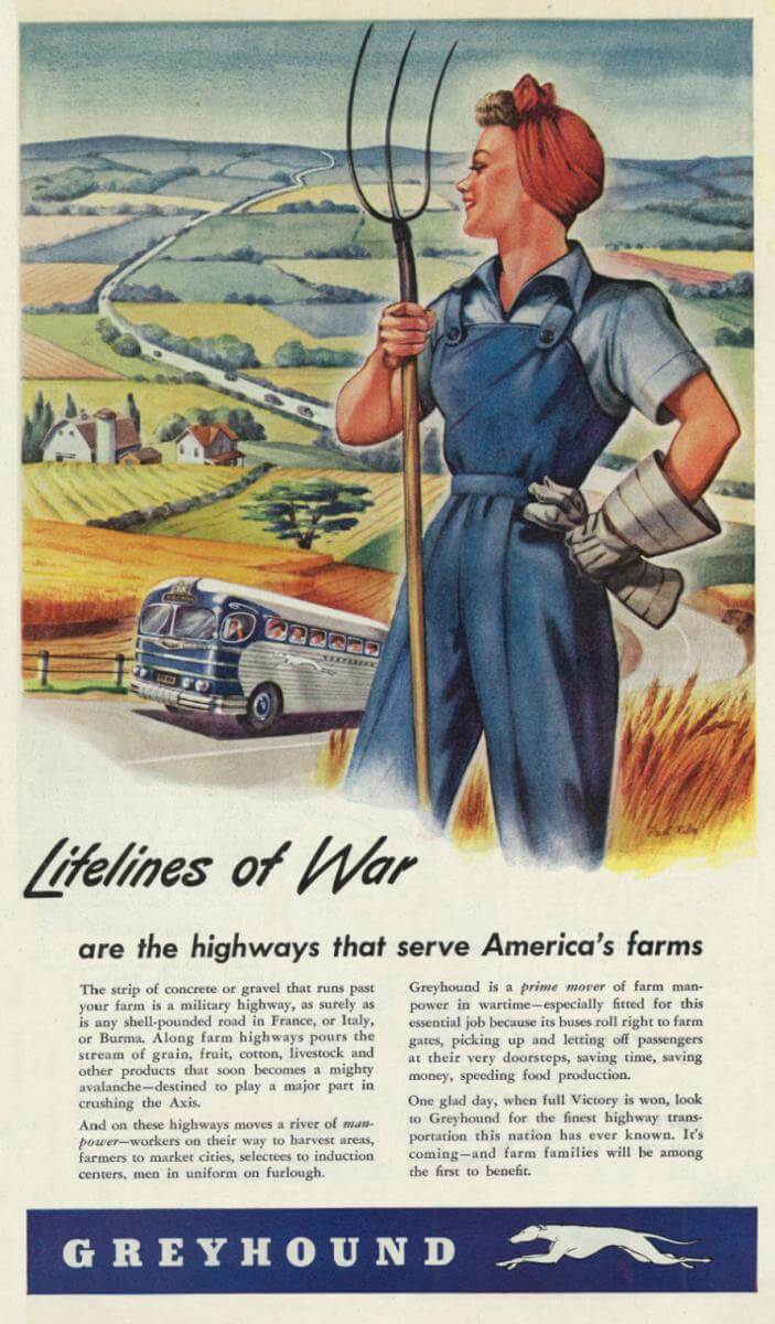 Lifelines of War, 1944. Advertisement originally printed in Country Gentleman, August 1944, Vol. 114 No. 8. Image uploaded by Flickr user Classic Film. Creative Commons license CC BY-NC 2.0.