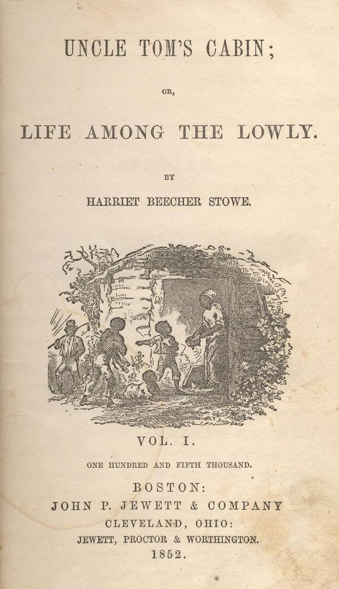 Title page of Uncle Tom's Cabin, (John P. Jewett and Company, 1852). Courtesy of Wikimedia Commons.
