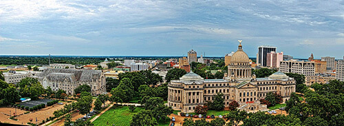 Jackson, Mississippi, downtown panorama, August 1, 2009. Photograph by Christopher Meredith. Creative Commons License CC-BY 2.0.