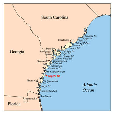 Sapelo Island in the Sea Islands Watershed. Courtesy of Wikimedia Commons. Creative Commons license CC BY-SA 2.5.