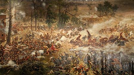 Confederate and Union troops in close combat, Battle of Atlanta Cyclorama, Atlanta, Georgia, 1886. Painting by the Atlanta Panorama Company.