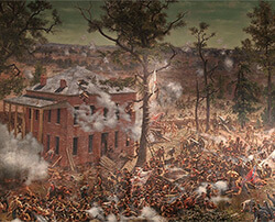 The Troup Hurt House and the four-gun DeGress Battery, which were temporarily captured by Confederate infantry on the afternoon of July 22, 1864, Battle of Atlanta Cyclorama, Atlanta, Georgia, 1886. Painting by the Atlanta Panorama Company.