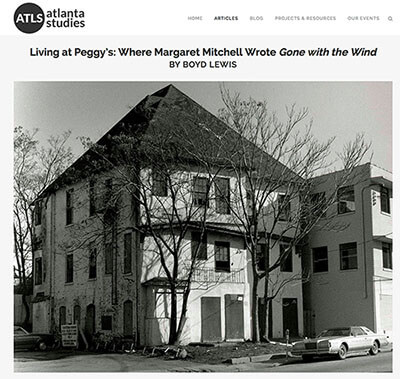 Atlanta Studies website, 2015. Screenshot of Boyd Lewis's photo of Margaret Mitchell's apartment house. Courtesy of Emory News. The website includes Boyd Lewis's original article about living in Margaret Mitchell's apartment and the building's history, an example of the original scholarship encouraged by the collaborative publication.