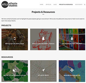 Atlanta Studies website, 2015. Screenshot of the projects and resources available to members of the public as well as academics. Courtesy of Emory News. The section is expected to expand as the new website takes off.