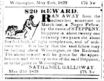 Advertisement announcing reward for runaway slave, Wilmington Advertiser, May 24, 1839. Courtesy of the North Carolina Runaway Slave Advertisements database.