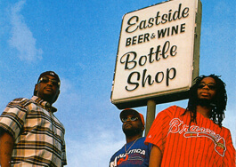 Photograph of Atlanta's Lil Jon & the East Side Boyz at a local landmark (Ichiban Records, 1997).