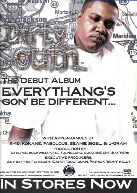 Promotional image for Everythang's Gon' Be Different by Dirty South. (Hard 2 Hit, 2001).