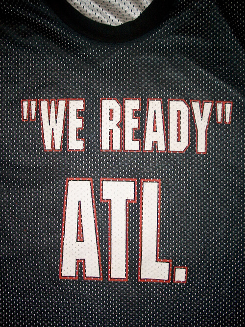 "Image of Atlanta rap slogan ""'We Ready' ATL."" on a basketball jersey. Photograph by Matt Miller, 2007. Courtesy of Matt Miller."