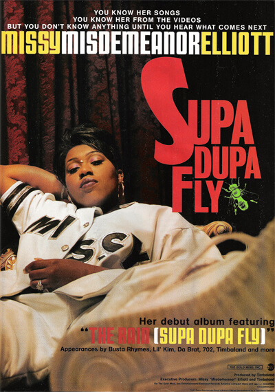 Promotional image for Supa Dupa Fly by Missy Elliot. (East/West Records, 1997).