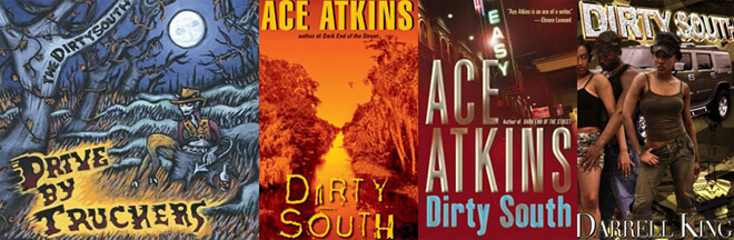 Comparison of imagery from mid-2000s CD and book covers reveals the Dirty South as multifaceted and contradictory. (New West, 2004 ; Avon, 2005 ; Wm. Morrow, 2004 ; Triple Crown Publ., 2005).