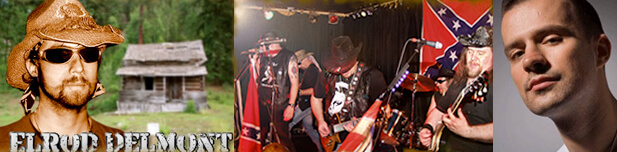 The English southern rock cover band The Dirty South blends hillbilly and confederate imagery; at right, Australian DJ/producer Dirty South.
