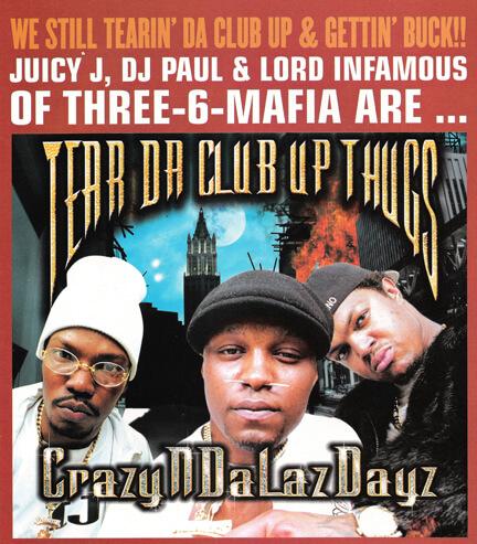 Album cover for CrazyNDaLazDayz by Tear da Club Up Thugs, a side project of Three 6 Mafia. (Relativity Records, 1999).