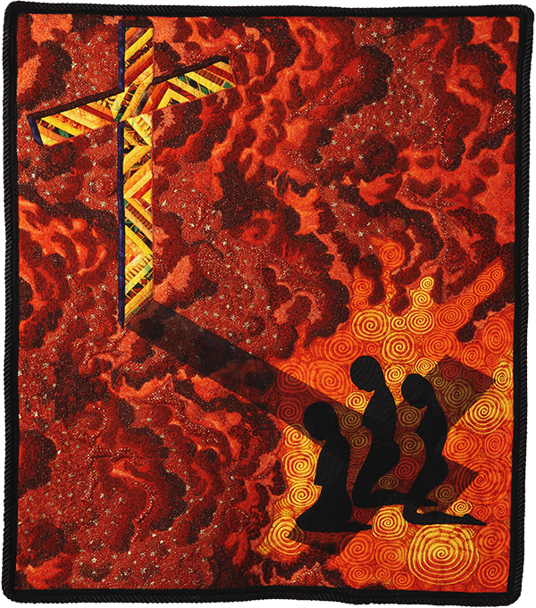 Full of the Faith, 2004. © Gwendolyn A. Magee. Pieced, quilted, stitched, and appliquéd fabrics, with cording. 42.5''x37''. Collection of the Gwendolyn Ann Magee Estate, D. E. Magee, administrator. Photograph by Dave Dawson Photography.