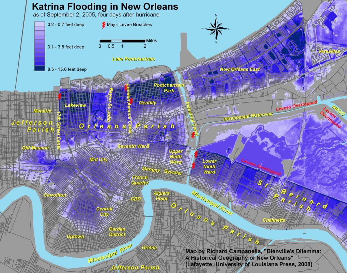 Katrina Flooding in New Orleans as of September 2, 2005, four days after the hurricane. Map by Richard Campanella. Originally published in Richard Campanella's Bienville's Dilemma: A Historical Geography of New Orleans (University of Louisiana Press, 2008).