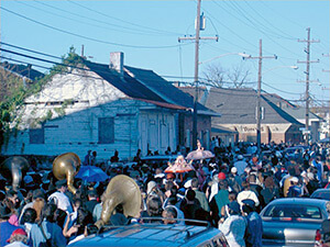 "Second line of funeral procession, New Orleans, Louisiana, 2005. Photograph by Nick Spitzer. Courtesy of Nick Spitzer. From ""Creolization as Cultural Continuity and Creativity in Postdiluvian New Orleans and Beyond,"" by Nick Spitzer."