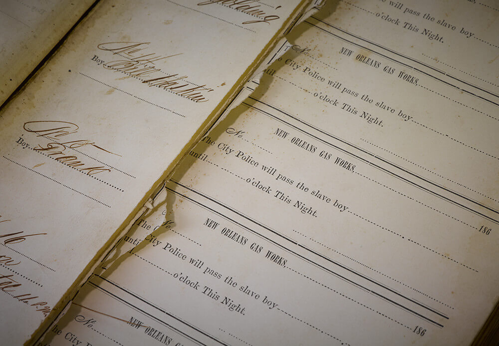 Detail of 19th-century passbook. Photograph by Paige Knight. Courtesy of Pellom McDaniels III and Paige Knight.