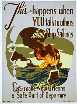 Let's Make New Orleans a Safe Port of Departure, 1941–1943. Poster by John McCrady. Courtesy of the Library of Congress, Prints and Photographs Division, LC-USZC2-1591.