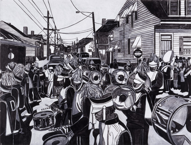 Willie Birch, Martin Luther King Day Parade, 2003. Acrylic and charcoal on paper,