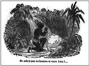 """""""Am I not a man and your brother?"""" Illustration on the cover of La Revue des Colonies 3 (1837): 376–392.  The story was originally published in this volume by Victor Séjour as """"Le Mulâtre."""""""