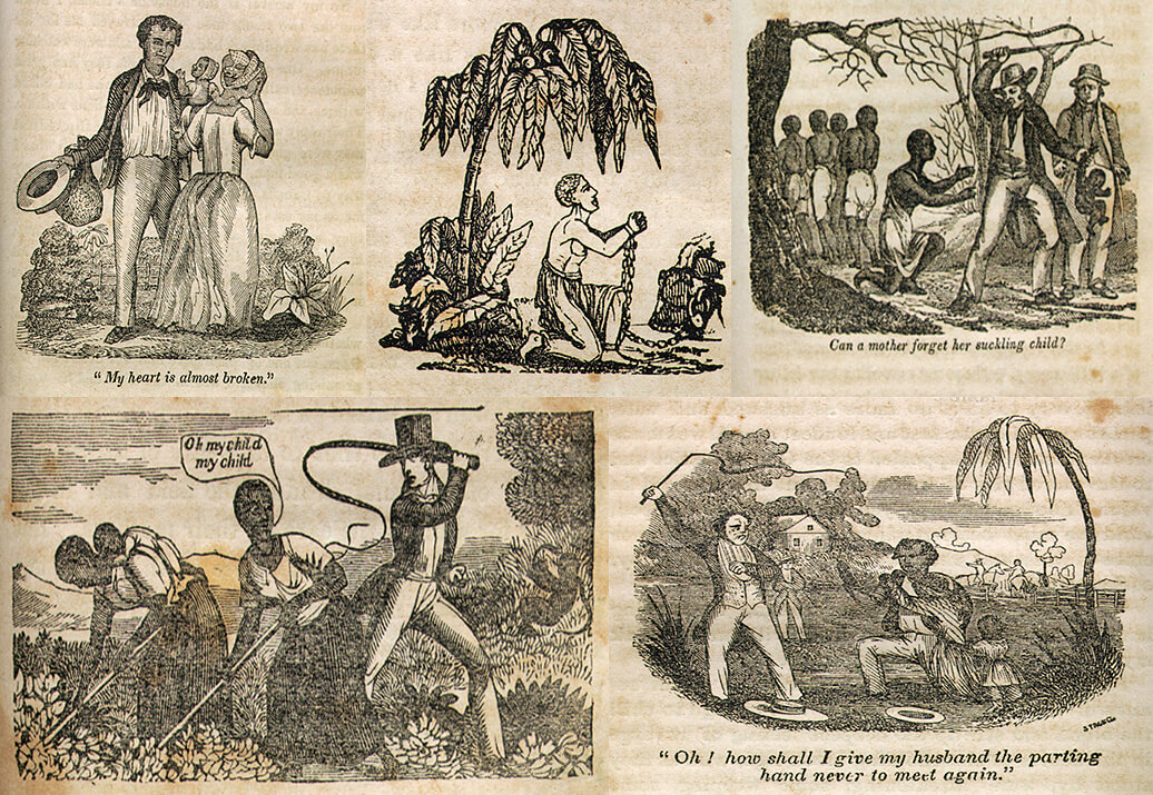 """American slave narratives, largely published after Séjour's story, appealed to readers by emphasizing enslaved humanity. These illustrations, from Narrative of the Life and Adventures of Henry Bibb, an American Slave, Written by Himself (1847), construct a portrait of slave emotion expressed within and constrained by a system of power and family separation similar to the system depicted by Séjour earlier in """"The Mulatto"""" (described above)."""