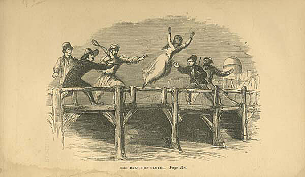 """""""The Death of Clotel."""" Illustration by unknown artist. Originally published in William Wells Brown's Clotel; or, the President's Daughter (Partridge & Oakey, 1853). Image is in public domain."""