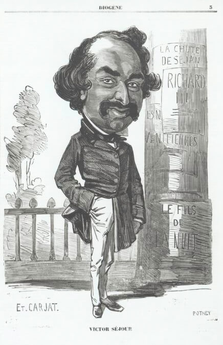 Victor Séjour, the earliest known author of fiction by an African-American, ca. 1850. Illustration by Étienne Carjat. Originally published in weekly journal Le Diogène. Image is in public domain.