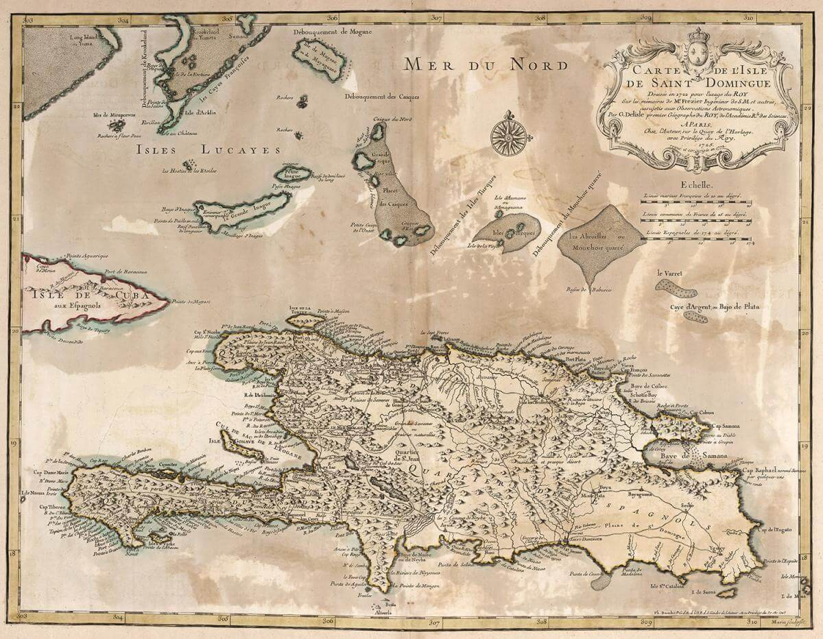 Map of Saint Domingue (present day Haiti and the Dominican Republic), 1772. Map by Jean Lattre. Courtesy of the David Rumsey Historical Map Collection. Image is in public domain.