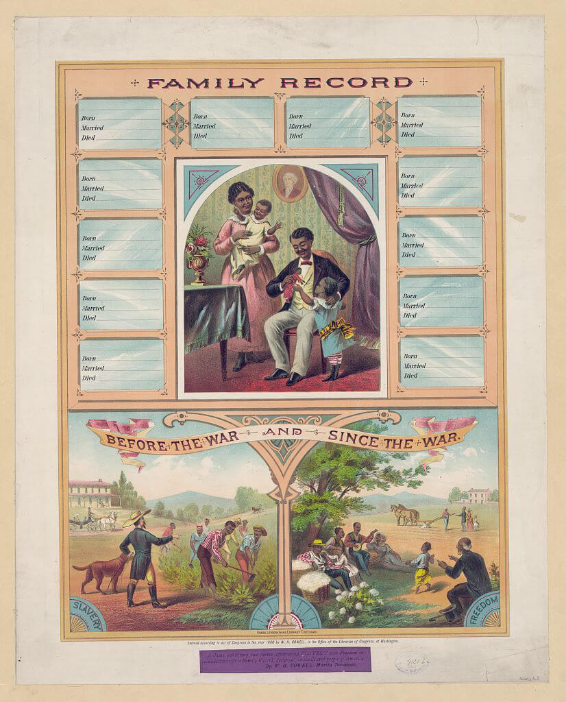 Blank Family Record: Before the War and Since the War, ca. 1880. Chromolithograph by Krebs Lithographing Company, Cincinnati, Ohio. Courtesy of the Library of Congress Prints and Photographs Division, loc.gov/pictures/item/91721220.
