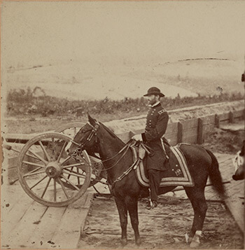 """Old Tecumseh,"" Union Major General William T. Sherman at Confederate Fort, Atlanta, Georgia, October 1864. Stereograph by George Barnard. Courtesy of Library of Congress."