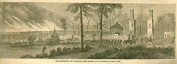 The Fourteenth and Twentieth Corps moving out of Atlanta, Georgia, November 15, 1864, Harper's Illustrated Weekly, January 1, 1865.