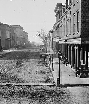 Whitehall Street, Atlanta's central business district, 1864. Wet plate negative by George Barnard. Courtesy of Library of Congress.