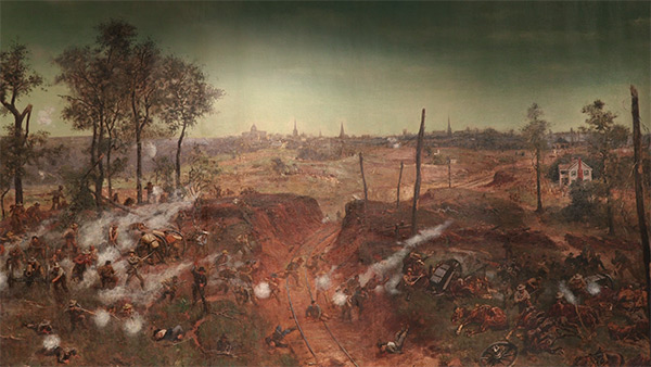 A cut in the Georgia Railroad, where Arthur Manigault's brigade spearheaded the Confederate's attack against an entrenched Union line, Battle of Atlanta Cyclorama, 1886. Painting by the Atlanta Panorama Company.