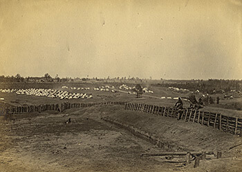Fort Walker, located in present-day Grant Park, Atlanta, Georgia, with Union troops encamped north of the fort, October, 1864. Photograph by George H. Barnard. Courtesy of US Military Academy Special Collections.