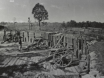 Confederate fort near Atlanta, Georgia, part of the city's inner ring of fortification during the Federal occupation, 1864. Photographic print by George H. Barnard. Courtesy of Library of Congress.