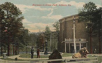 Original Cyclorama building, Grant Park, Atlanta, Georgia, erected 1898. Color postcard, ca. 1910.