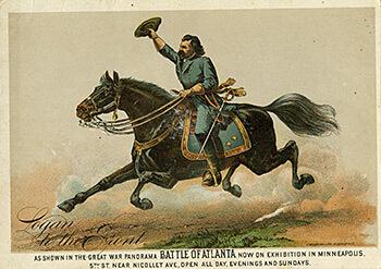 Union Major General John A. Logan riding Slasher. Minneapolis Cyclorama promotional flyer, ca. 1886.