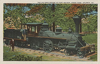 The Texas Imperial, the Texas locomotive that overtook the Andrews Raiders in 1862, on display in Grant Park in the early twentieth century. Postcard, ca. 1910.