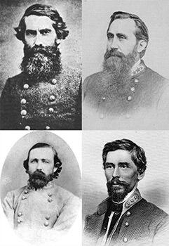 Hardee's division commanders. Confederate division commanders whose units completed Hardee's Night March, clockwise from upper left, William H. T. Walker, Patrick R. Cleburne, William B. Bate, and George E. Maney. Compilation by Christopher Sawula.