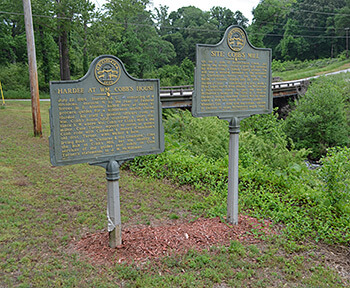 Historical markers at Intrenchment Creek, April 28, 2014. Photograph by Daniel Pollock.
