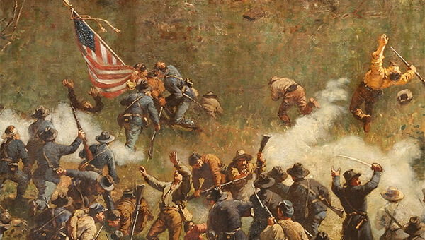 Confederate and Union troops in close combat, Battle of Atlanta Cyclorama, Atlanta, Georgia, 1886. Painting by Atlanta Panorama Company.